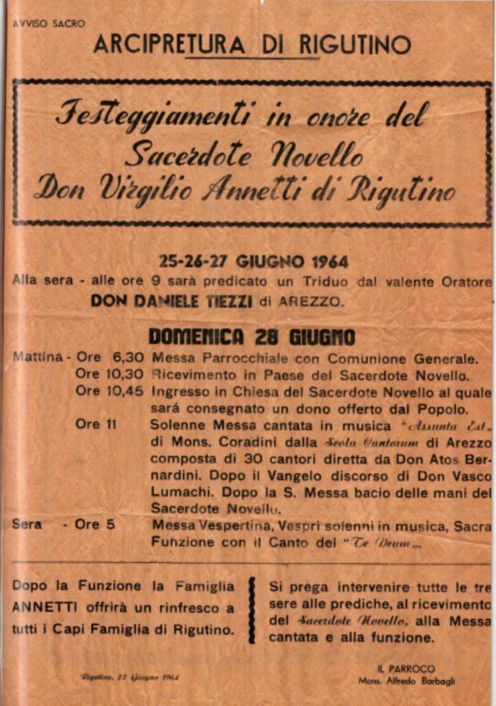 Manifesto Festeggiamenti per il Nuovo Parroco Don Virgilio 25-28 Giugno 1964