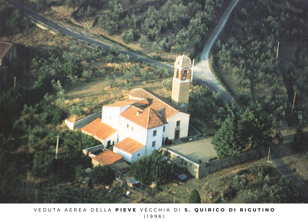 veduta aerea della pieve vecchia di s. quirico di rigutino