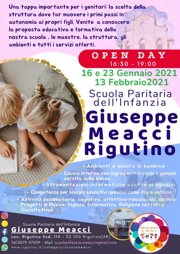 Open Day 2021 al Via per la Scuola dell'Infanzia Giuseppe Meacci 1
